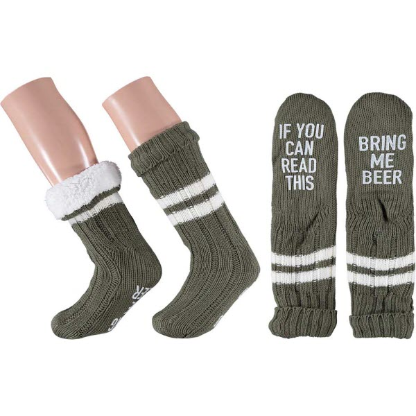 Warme gevoerde sokken man met grappige tekst